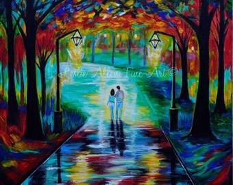 """Couple Painting Couple SALE Original Acrylic Painting COUPLE LOVE Romantic Loving True Love  """"Forever In Blue Jeans"""" Leslie Allen Fine Art"""