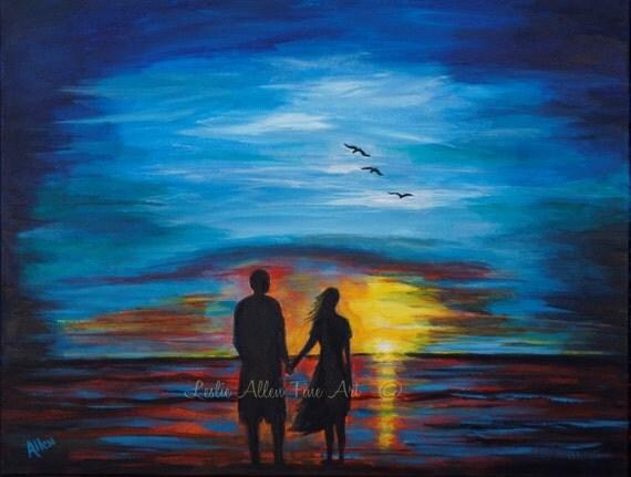 Items similar to couple painting couple beach ocean sunset - Cuadros de parejas ...