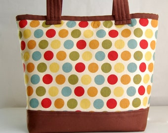 Vintage Dots Fabric Tote Bag - READY TO SHIP