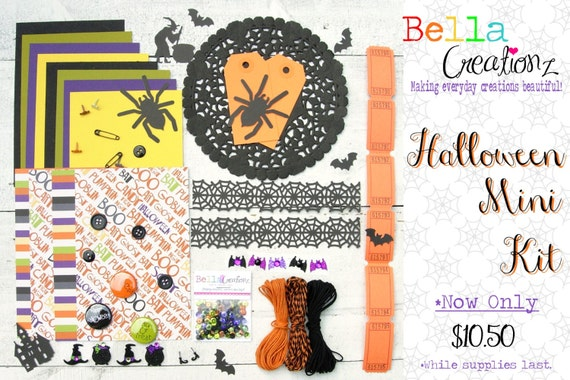 SALE New Halloween Embellishment Kit - October Embellishment Kit - Card Kit - Scrapbook Embellishement Kit