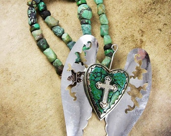 Turquoise Wings of an angel Gothic necklace huge rosary cross statement piece sacred heart