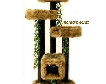 ELEGANT CAT FURNITURE 5' High Copper Mt, Best Cat Tree, Custom Cat Trees, Luxury Cat Beds, Fancy Cat Trees, Majestic Cat Copper Mt 5F3BT