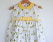 Vintage 1960's Toddler Girl Dress - Yellow Flowers (12m)