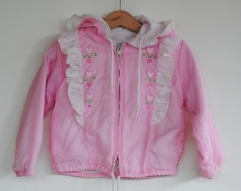 Vintage Toddler Girl Jacket - Pink Hearts (2T)