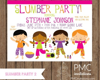 Custom Pritned Sleepover, Slumber Party, Pajama Party Invitations - 1.00 each with envelope