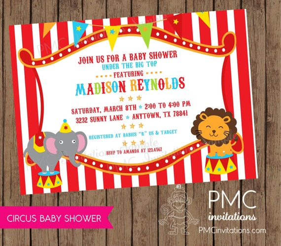 circus baby shower invitations each with by pmcinvitations