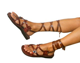 Brown Decor Gladiator Leather Sandals For Men & Women (triple Design) - Handmade Unisex Sandals, Flip Flop, Jesus Sandals, Genuine Leather
