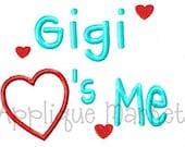 Machine Embroidery Design Applique Gigi Hearts Me INSTANT DOWNLOAD
