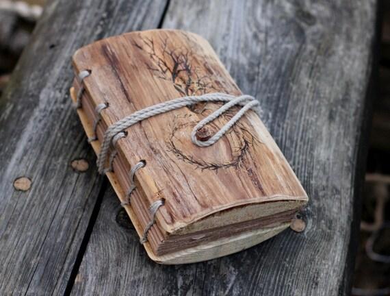 Rustic wood journal  8 1/2 x 6 Branch Swirl