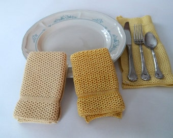 Dishcloths Knit in Cotton in Butter, Daffodil, Gold/Yellow/Brt Yellow, Knit Washcloth, Wash Cloth, Dish Cloth,