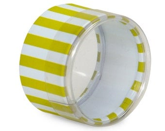 6 Mini Round Stripes Favor Boxes in Lime Green