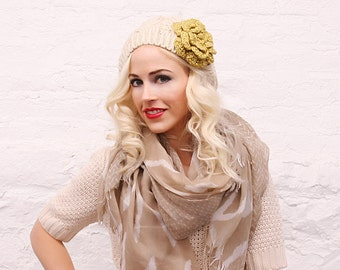Ivory Yellow Flower Slouchy Hat - Ready to Ship