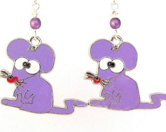 Purple mice earrings, lavender enamel mouse charms with Swarovski crystal and round beads