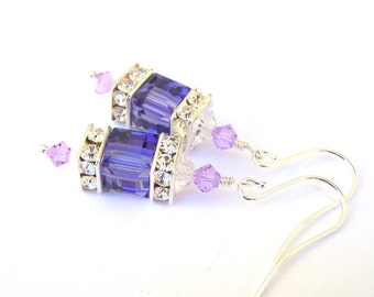 Tanzanite purple crystal earrings, Swarovski crystal cube earrings