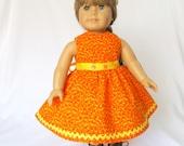 18 Inch Orange Doll Dress Yellow Sash Candy Corn Colors Sleeveless 1950s School Full Skirt Crinoline Petticoat Slip Halloween Autumn Fall