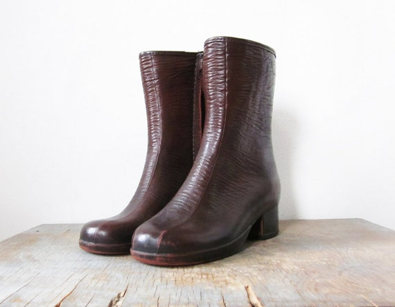 vintage brown boots vegan rubber waterproof boots size