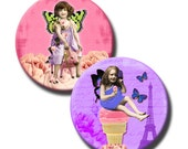 Victorian Kids on Tattered Pink and Purple - 1.25 inch circles - (2) Digital sheets