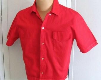 Men's 50s 60s Vintage Shirt Jac, Sears Roebuck Pilgrim California, Cropped Red Cotton, Short Sleeve, Ivy League Rockabilly 15 1/2 Neck Med.