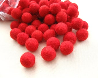 Felt Balls Red - 20 Pure Wool Beads - Cherry Red Shade -   (W212)