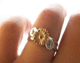 Sunflower Ring Set, Stack Rings, Initial Rings, Gold Sunflower Ring, Sterling Silver Stack Rings, Custom Initials, Set Of Three