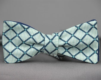 Green Blue Checkery Plaid Dot  Bow Tie
