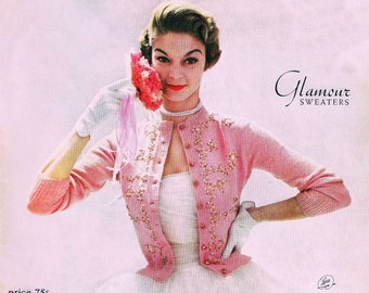 Vintage Knitting and Crochet Patterns 1950's - Jeweled Studded Sweaters Knit Blouse and Cardigans Glamour Sweaters Columbia Minerva Book 702