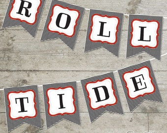 Roll Tide Houndstooth Printable Banner
