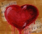 Bleeding Love Heart Painting, Original Fine Art, Gift
