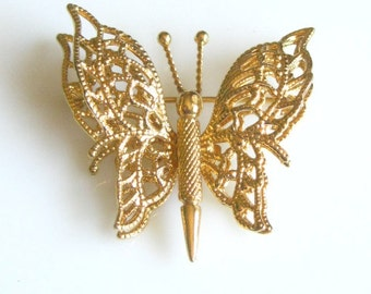 Lovely Signed Vintage Goldtone  Butterfly Pin Brooch with Layered Wings Monet