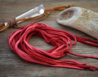 Red Deer Suede Leather, 3mm x 40 in strap (1 pcs) / Deerskin, Deer hide, Buckskin, Soft Deer Suede, Jewelry Supplies