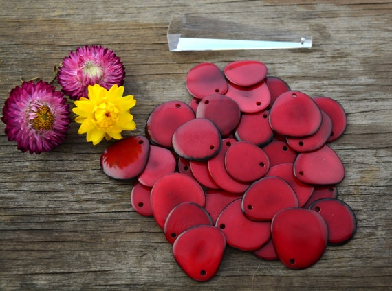 Tagua Nut Thin Slices: True Red Tagua Slices *top drilled* 10pcs / Vegetable Ivory, Organic beads, Tagua nuts / Jewelry supplies