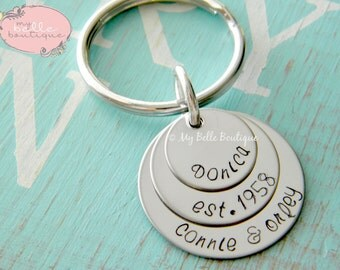 Personalized Hand Stamped Triple Round Disc Keychain - Three Stamped Discs - Perfect for Father's Day