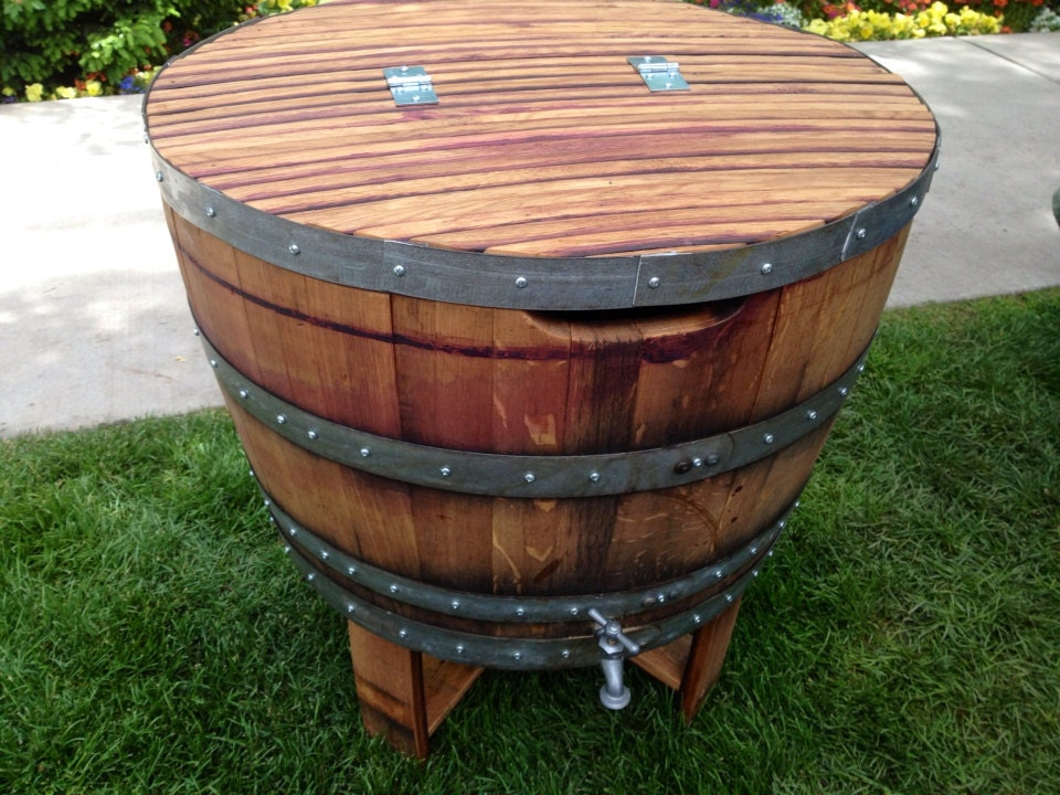 how to make a wine barrel ice chest