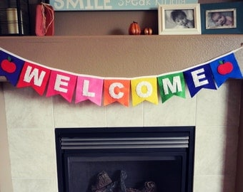 Rainbow Colored WELCOME Bunting