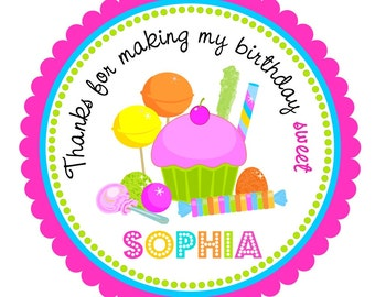 Candyland Stickers, Personalized Candyland labels, Candyland Birthday Party --Set of 12