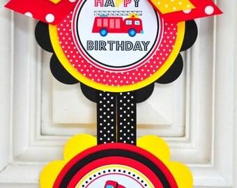 Firetruck Door Sign, Small Vertical Sign, Firetruck  Birthday Party, Vertical Door Sign