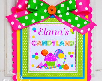Candyland  Door Hanger, Welcome Door Sign, Candyland Birthday, Candyland Party Decor