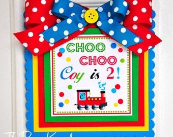 Choo Choo Train Door Sign, Welcome Door Hanger, Choo Choo Train Birthday Party