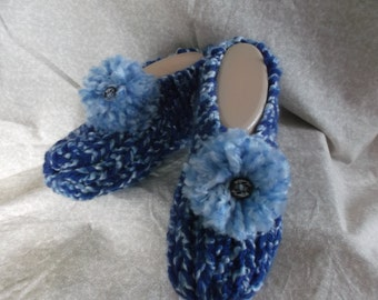 Women's  Handmade Knitted Blue Slipper Size 6, 7, or 8 with Pompoms and Wooden Button