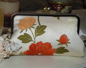 Handmade Painted Florals Silk Kimono Fabric Clutch/Purse/Bag.Bridal/Wedding Gift..Chrysanthemum/Phoenix..Golden Light Lime..see Wrap..OOAK