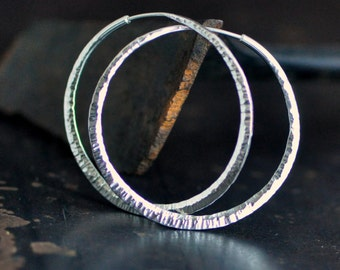 "1 3/4"" hammered sterling silver hoop earrings, round endless style hoops, wide thick hoops, eco friendly jewelry"