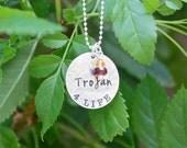 Trojan 4 Life Necklace - Sterling Silver, Trojan Pride Jewelry, Trojan Graduation Gift