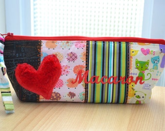 Bag, pouch, pencil pouch, makeup, pencil case, makeup bag, cosmetic bag, embroidery kit with macaroon, macaroons theme.