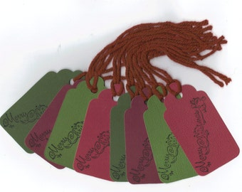 Clearance / Merrry Christmas Hand Stamped Large Scallop Die Cut Hang Tags (Set of 8) Favor Tags / Ready To Ship