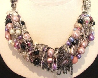 Statement necklace-chunky chain necklace- twisted chain- cluster necklace- pink  purple silver black- Celebration Necklace