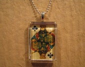 """Antique Playing Card King of Clubs Flat Rectangle Glass Pendant with 24"""" Ball Chain Necklace"""