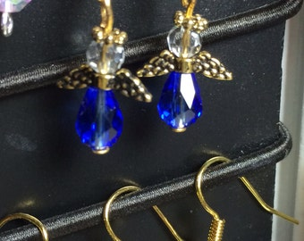 Minimal, Tiny,Very Small,  Antique Gold Medium Blue Colored Glass Faceted Angel Earrings