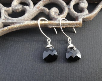 Jet Black Swarovski Crystal Earrings, Black Crystals, Black Earrings, wire wrapped