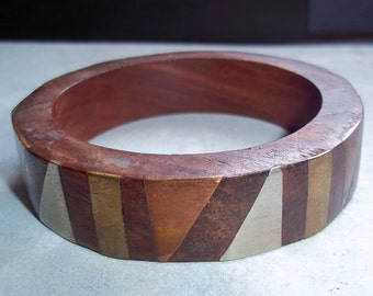 Vintage Wood Bangle Bracelet with Copper and Brass Inlay