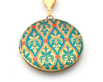 Vintage Inspired Locket Necklace with Turquoise and Red Floral Wallpaper Print